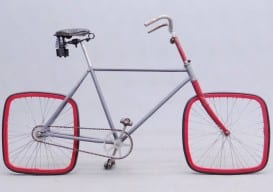 Bike with square wheels clown