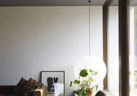 noguchi paper shade lamp hung low