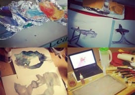 Bedroom, dining room, the school where I worked...all become my impromptu studio