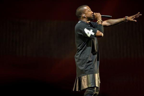 Kanye West in concert via Let Men Wear Skirts