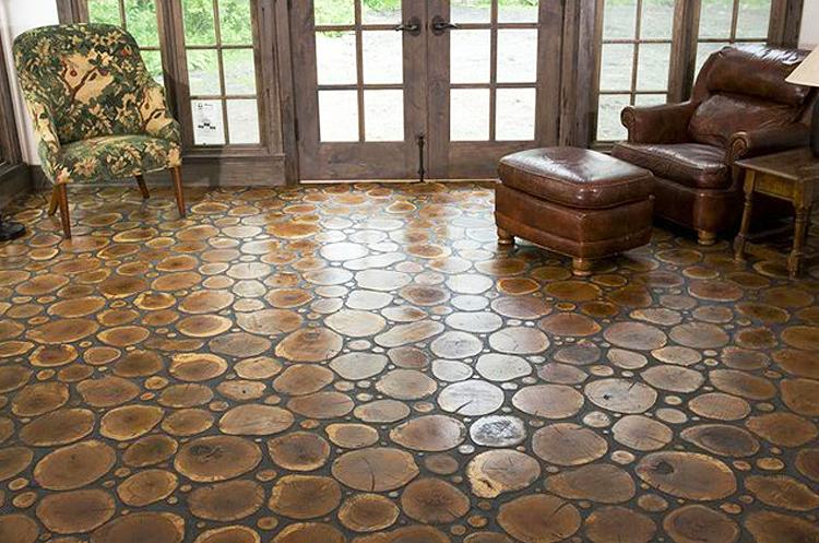 Diy Cross Cut Tree Slice Floors Outdoors Or In