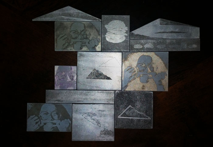 Miscellaneous zinc plate etchings from Suk's student days