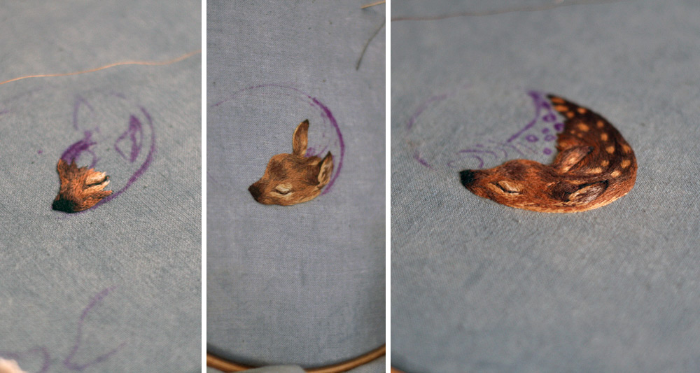 Embroidery Redux Fawn Triptych