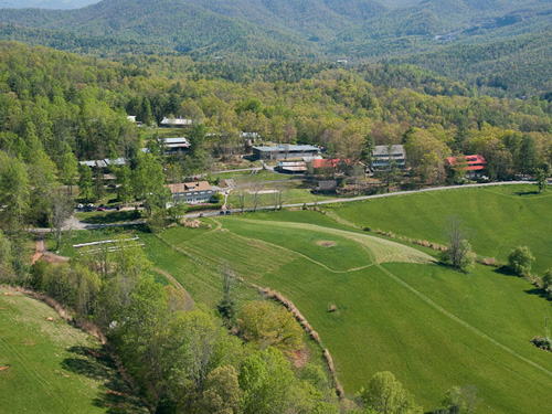 An aerial view of Penland's North Carolina campus