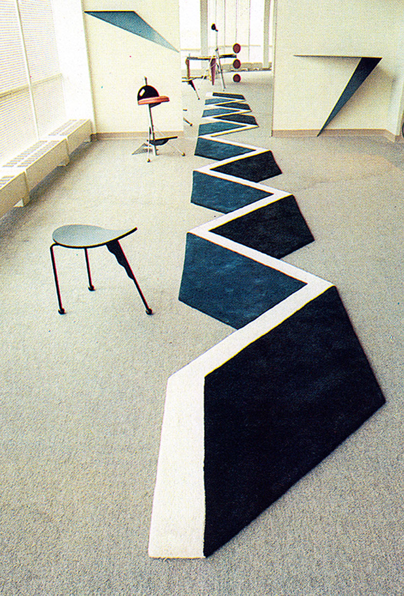 zig-zag optical illusion rug embossed 3D textile padstyle