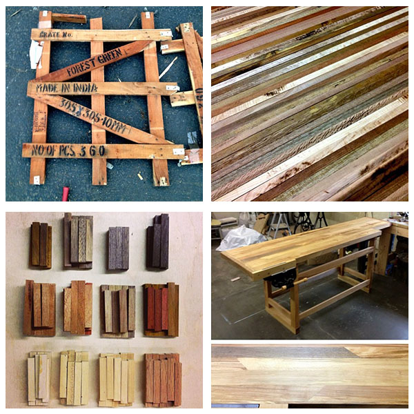 a pallet from India, deconstructed; specialty woods cut and sorted; a workbench in progress