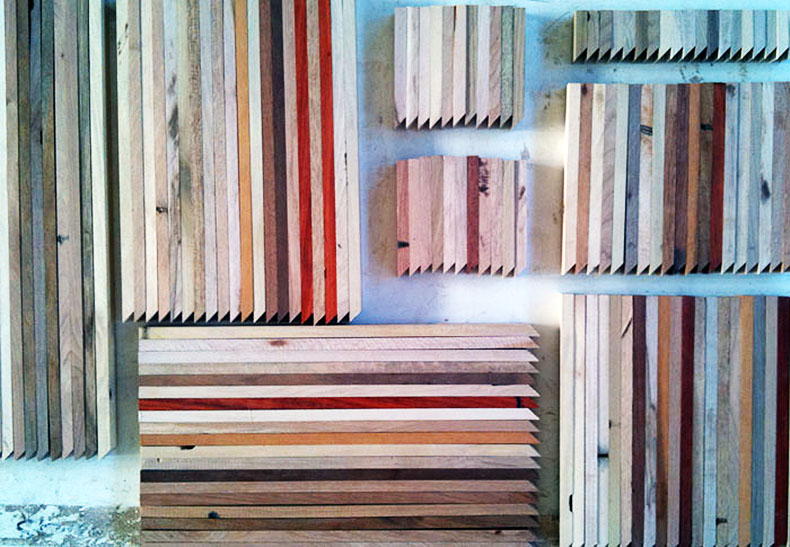 Unfinished scraps ready for a complex glue-up