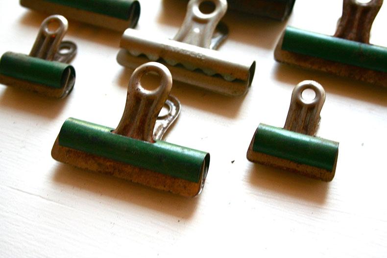 green vintage binder clips LoveliesShop Etsy