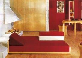 painted plywood sofa Andre Monpoix, Maison de Vacances, 1963*