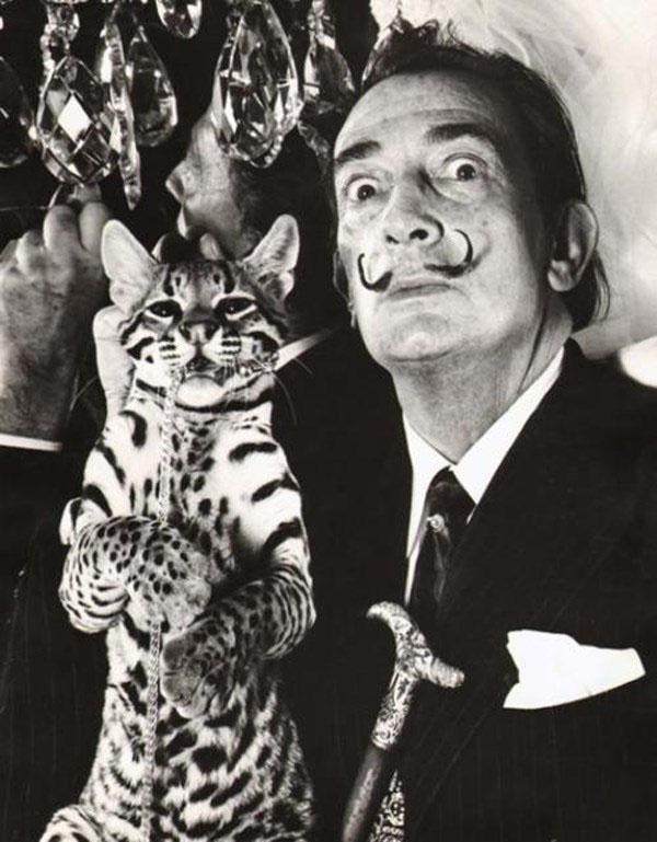 Salvador Dali with ocelot Babou