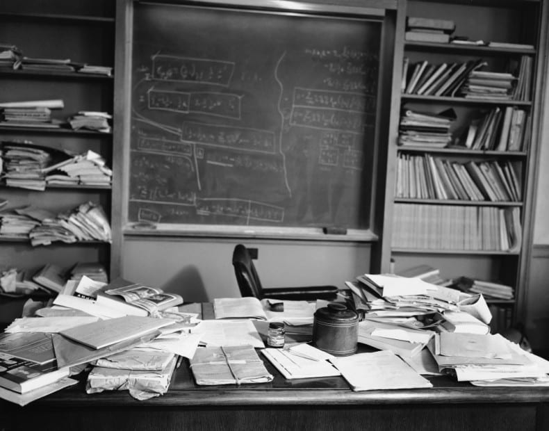 Einstein's office at the Institute for Advanced Study, Princeton, New Jersey on April 18, 1955. The famous physicist died of a gall bladder ailment at the age of 76. (AP Photo/Jacob Harris)