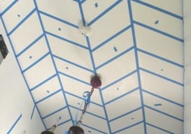 how to paint a herringbone ceiling www.vintagerevivals.com