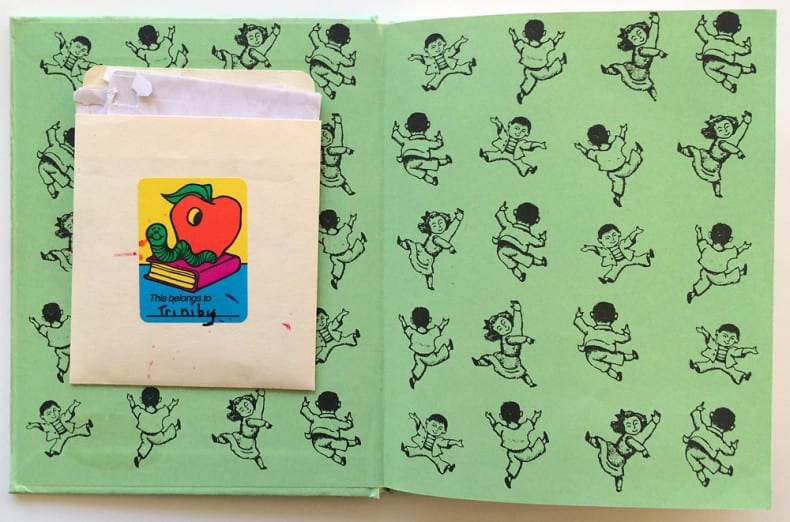 Children's book envelope pocket 1