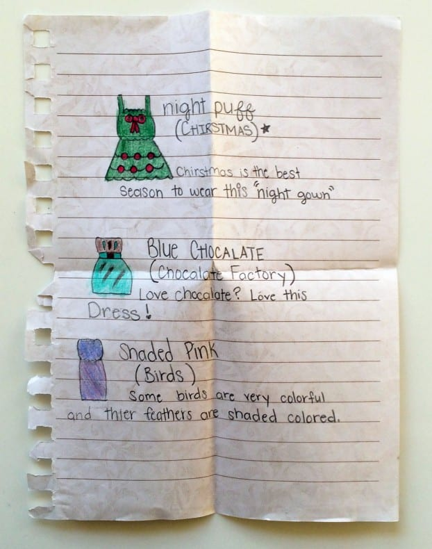 Children's book pocket page note 1