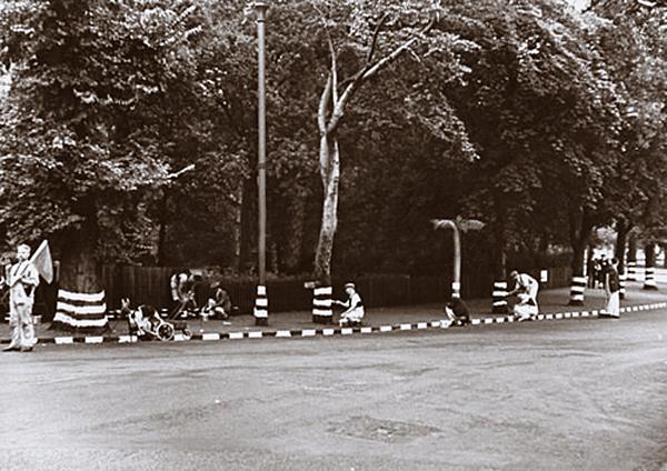 white striped trees London 1939