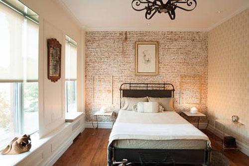 scraped brick wall bedroom