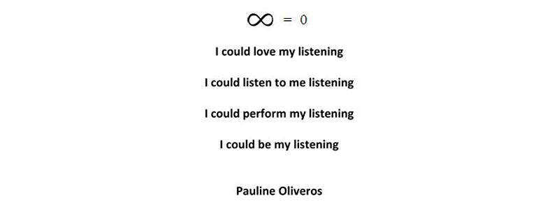 Pauline Oliveros via Sharon Stewart